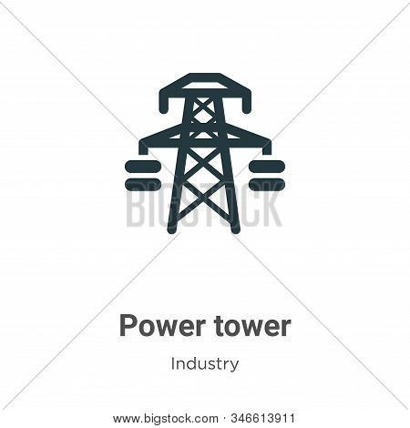 Power tower icon isolated on white background from industry collection. Power tower icon trendy and