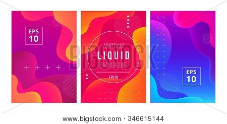 Set Of Minimal Template In Modern Style Design With Fluid Wavy Shapes. Abstract Background Design Fo