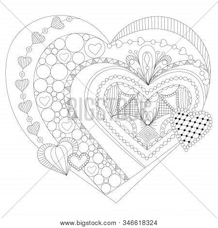 Heart Zentangle, Colouring Page | Coloring Pages | Printable ... | 470x450