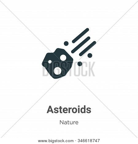 Asteroids Glyph Icon Vector On White Background. Flat Vector Asteroids Icon Symbol Sign From Modern