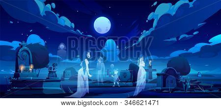 Ghosts On Cemetery, Old Graveyard At Night With Dead Souls Silhouettes Walking Among Graves With Bur