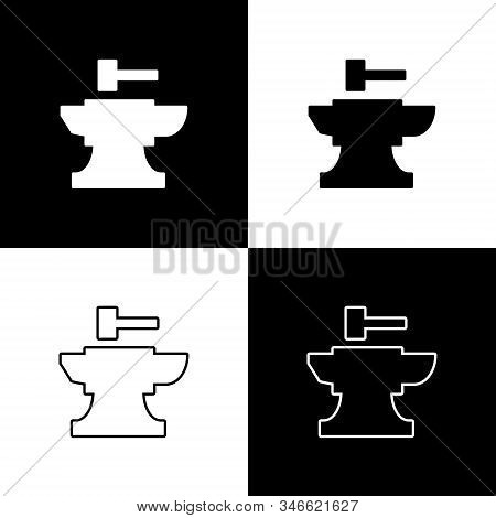 Set Anvil For Blacksmithing And Hammer Icon Isolated On Black And White Background. Metal Forging. F