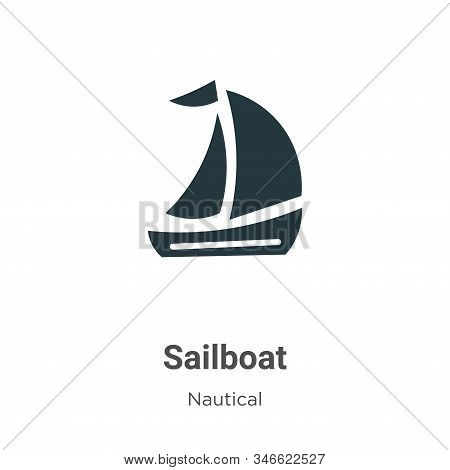 Sailboat Glyph Icon Vector On White Background. Flat Vector Sailboat Icon Symbol Sign From Modern Na