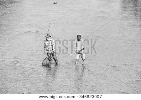 Teach Man To Fish And You Feed Him For Lifetime. Summer Weekend. Happy Fisherman With Fishing Rod An
