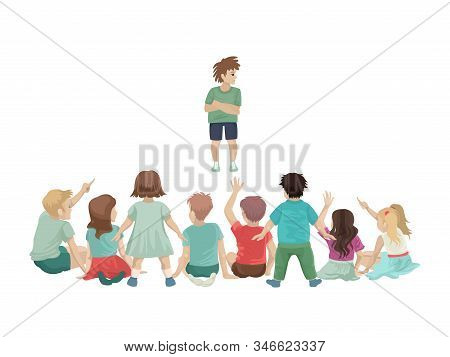 Unhappy Student Stands In Front Of The Class, The Children Sit Back. Vector Illustration