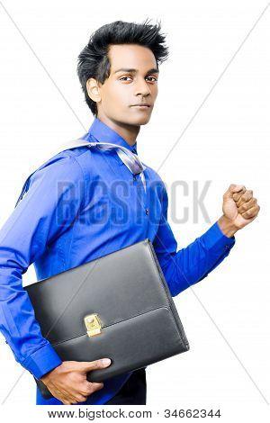 Asian Businessman Running Late