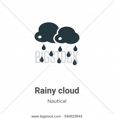 Rainy cloud icon isolated on white background from nautical collection. Rainy cloud icon trendy and