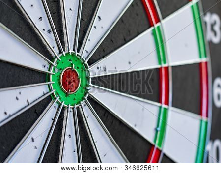 The Target Center Of Dartboard. Success Hitting Target Aim Goal Achievement Concept .darts And Dart