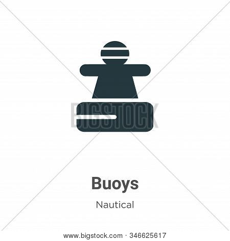Buoys Glyph Icon Vector On White Background. Flat Vector Buoys Icon Symbol Sign From Modern Nautical