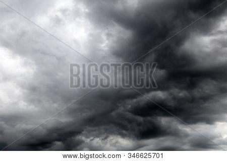 Grey storm clouds in sky