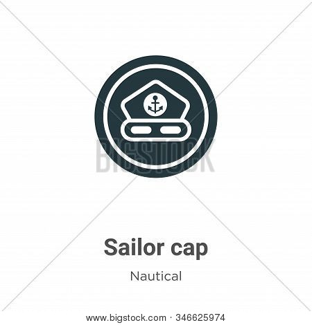 Sailor Cap Glyph Icon Vector On White Background. Flat Vector Sailor Cap Icon Symbol Sign From Moder