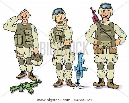Three soldiers - the sad, the thoughtful and the happy