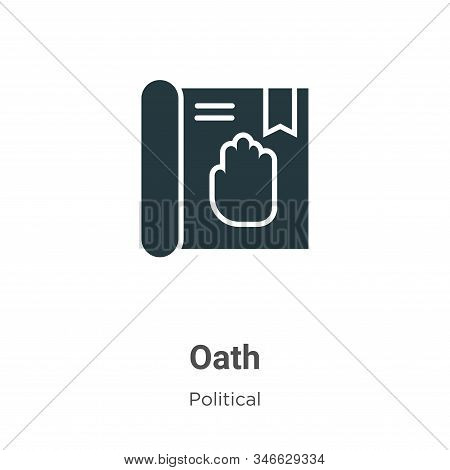 Oath Glyph Icon Vector On White Background. Flat Vector Oath Icon Symbol Sign From Modern Political