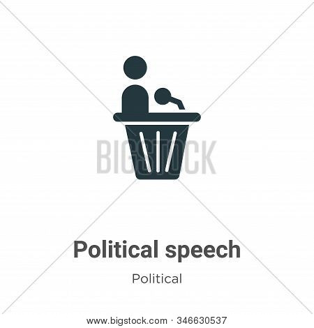 Political speech icon isolated on white background from political collection. Political speech icon