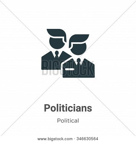 Politicians Glyph Icon Vector On White Background. Flat Vector Politicians Icon Symbol Sign From Mod