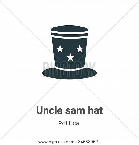 Uncle Sam Hat Glyph Icon Vector On White Background. Flat Vector Uncle Sam Hat Icon Symbol Sign From