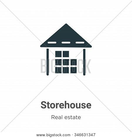 Storehouse Glyph Icon Vector On White Background. Flat Vector Storehouse Icon Symbol Sign From Moder