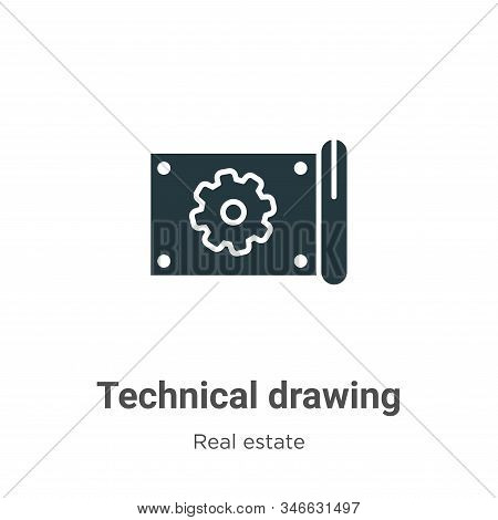 Technical drawing icon isolated on white background from real estate collection. Technical drawing i