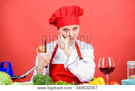 Chef Cook Peeling Onion. Kitchen Routine. Girl Cooking Healthy Meal. Housewife Cook Crying While Cut