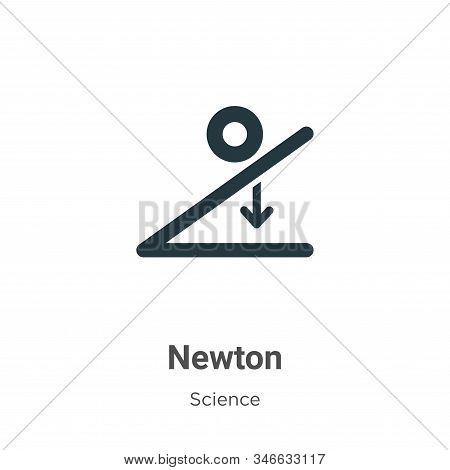Newton Glyph Icon Vector On White Background. Flat Vector Newton Icon Symbol Sign From Modern Scienc