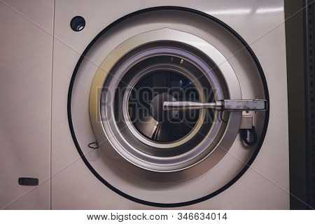 Washing Machine In Dry Cleaning Close-up Dry Cleaning.
