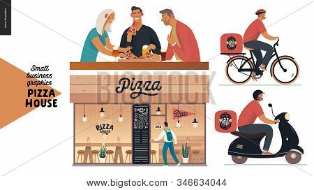 Pizza House - Small Business Graphics - Restaurant Facade, Visitors, Delivery. Modern Flat Vector Co