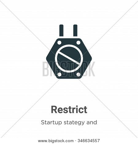 Restrict Glyph Icon Vector On White Background. Flat Vector Restrict Icon Symbol Sign From Modern St