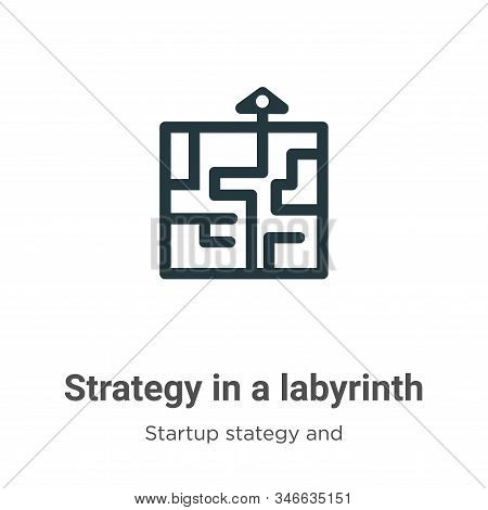 Strategy In A Labyrinth Glyph Icon Vector On White Background. Flat Vector Strategy In A Labyrinth I