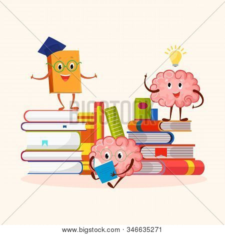 Books And Human Brain Funny Characters Education And Studying Concept Vector Illustration. A Smiling