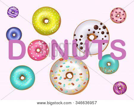 Donuts Doughnuts Vector Illustration. Fried Confection Glazed Dessert Bakery Product Sweet Food. Var