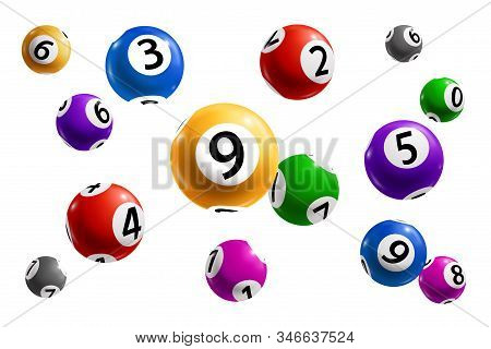 Balls With Numbers Of Bingo Lottery, Lotto And Keno Gambling Games 3d Vector Design Of Gaming Sport,