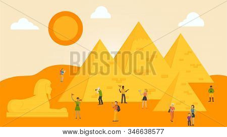 Travelling In Egypt Concept Vector Illustration. Groups Of People Tourists With Guides Making Photo