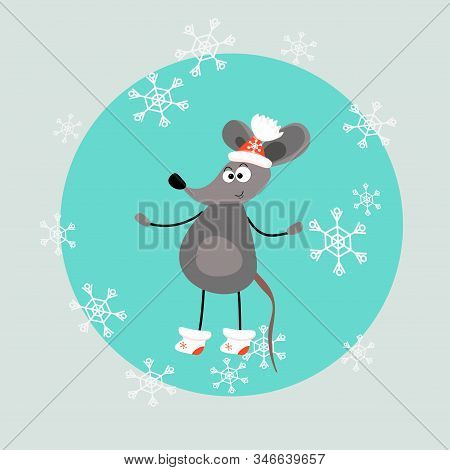 Funny Mouse In A Winter Hat And Boots. The Character Is A Cute Animal On A Green Background. For Pri