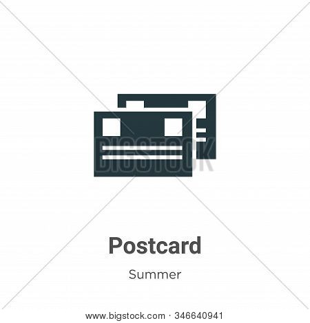 Postcard icon isolated on white background from summer collection. Postcard icon trendy and modern P