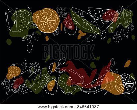 Fruit Composition. Scandinavian Style Illustration. Vector Illustration