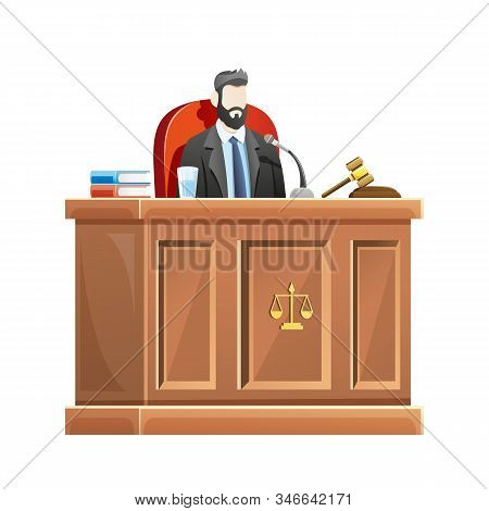 Vector Illustration Judge Sitting Behind The Desk Court In Courthouse, Male Judge Presides At The Co