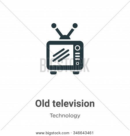 Old television icon isolated on white background from technology collection. Old television icon tre