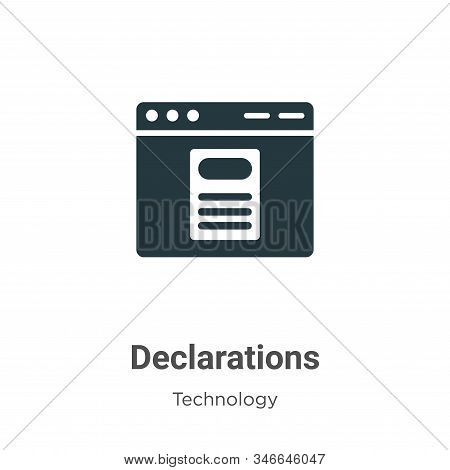 Declarations Glyph Icon Vector On White Background. Flat Vector Declarations Icon Symbol Sign From M
