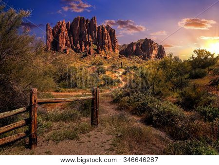 Late Afternoon View Of The Superstition Mountains. Mesa Arizona. Home Of The Lost Dutchman Mine.