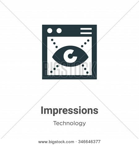 Impressions Glyph Icon Vector On White Background. Flat Vector Impressions Icon Symbol Sign From Mod