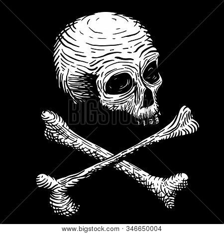 Hand Drawing Of A Skull Of A Dead Man, With Bones, On A Black Background. Vector Illustration