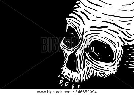 Banner Template With Skull Of A Dead Man And Place For Text On A Black Background. Vector Hand Drawi