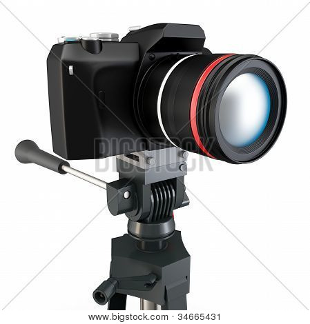 3D Detailed Camera On Tripod
