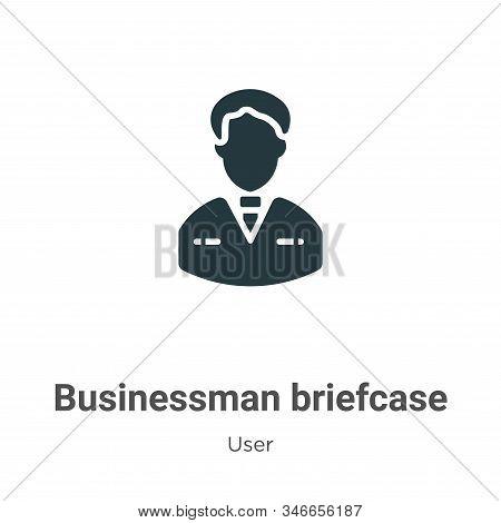 Businessman Briefcase Glyph Icon Vector On White Background. Flat Vector Businessman Briefcase Icon