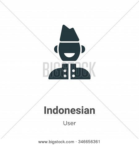 Indonesian Glyph Icon Vector On White Background. Flat Vector Indonesian Icon Symbol Sign From Moder
