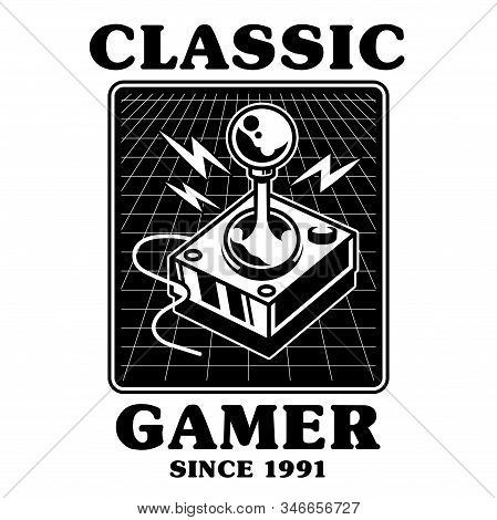 Old School Vintage Joystick For Play Retro Video Classic Game Gamer Arcade. Print Design Vector Illu