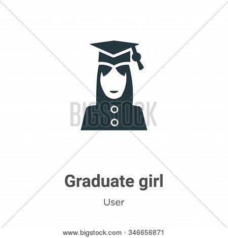 Graduate Girl Glyph Icon Vector On White Background. Flat Vector Graduate Girl Icon Symbol Sign From
