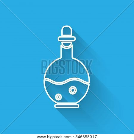 White Line Glass Bottle With Magic Elixir Icon Isolated With Long Shadow. Computer Game Asset. Vecto