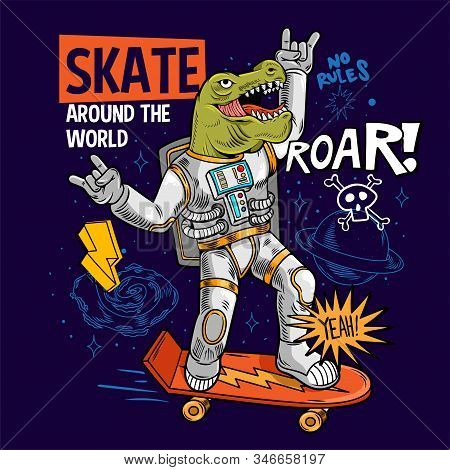 Engraving Funny Cool Dude In Space Suit Skater Dino Green T Rex Ride On Space Skate Board Between St
