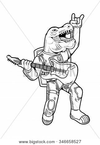 Engraving Draw Cool Dude Astronaut T Rex Tyrannosaurus Rock Star Play On Guitar In Space Suit. Vinta